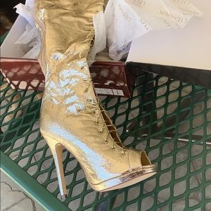 Gold thigh high lace boots
